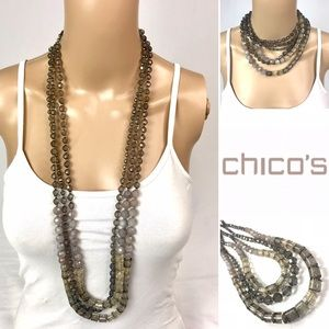 CHICO'S Triple-strand Long Necklace Grays